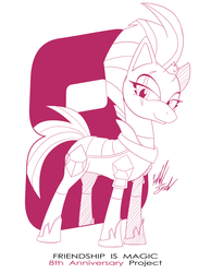 Size: 1086x1400 | Tagged: anniversary, artist:fuzon-s, female, happy birthday mlp:fim, mare, mlp fim's eighth anniversary, monochrome, part of a set, pony, raised hoof, safe, sketch, smiling, solo, style emulation, tempest shadow, unicorn, yuji uekawa style
