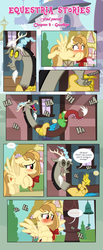 Size: 1919x4664   Tagged: safe, artist:estories, discord, oc, oc:alice goldenfeather, draconequus, pegasus, pony, comic:find yourself, blushing, blushing profusely, comic, embarrassed, female, laughing, mare, rude