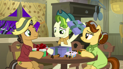 Size: 1280x720 | Tagged: safe, screencap, butternut, oak nut, pistachio, earth pony, pony, best gift ever, female, hat, male, mare, present, smiling, stallion, teenager, the true gift of gifting