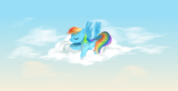 Size: 1000x512 | Tagged: artist:vairgarden, cloud, cute, pegasus, pony, rainbow dash, safe, sleeping, solo