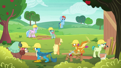 Size: 1366x768 | Tagged: applejack, apple tree, board, bow, changedling, changeling, classical hippogriff, cloven hooves, construction, dragon, dragoness, earth pony, female, field, flying, gallus, griffon, hair bow, hard hat, helmet, hippogriff, male, mare, monkey swings, mouth hold, non-compete clause, ocellus, paintbrush, pegasus, pony, rainbow dash, safe, sandbar, saw, screencap, silverstream, smolder, student six, teenager, tree, yak, yona