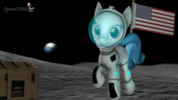 Size: 1920x1080 | Tagged: 3d, artist:spinostud, astronaut, earth, female, flag, generic pony, mare, moon, planet, pony, safe, source filmmaker, space, spacesuit