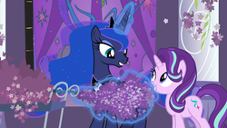 Size: 1280x720   Tagged: safe, screencap, princess luna, starlight glimmer, alicorn, pony, unicorn, a royal problem, canterlot castle, cart, cute, female, flower, jewelry, lavender, levitation, looking at each other, magic, mare, night, peytral, pillar, regalia, smiling, stained glass, telekinesis, that pony sure does love lavender