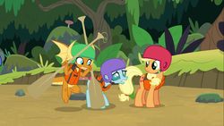 Size: 1366x768 | Tagged: forest, helmet, lifejacket, non-compete clause, oar, pony, safe, smolder