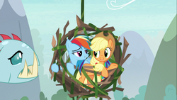 Size: 1366x768 | Tagged: safe, screencap, applejack, ocellus, rainbow dash, biteacuda, earth pony, fish, pegasus, pony, non-compete clause, cage, disguise, disguised changeling, fangs, female, mare, stick, trapped, vine