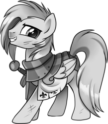 Size: 6491x7486 | Tagged: absurd res, armor, artist:pepooni, black and white, bruised, buck legacy, card art, fantasy class, fleur-de-lis (object), grayscale, knight, looking at you, monochrome, oc, oc only, pegasus, pony, safe, scuff mark, simple background, solo, sword, transparent background, weapon