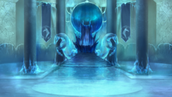 Size: 1600x902   Tagged: safe, artist:elkaart, oc, oc:frightmare frost, banner, ice, no pony, statue, throne, throne room