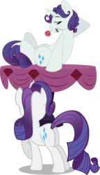 Size: 1692x2946 | Tagged: safe, artist:psychoanalyticbrony, artist:wicklesmack, edit, editor:slayerbvc, vector edit, rarity, pony, unicorn, away from viewer, bedroom eyes, elusive, female, flirting, flower, looking forward, male, mare, mouth hold, on table, plot, rararararara, rarilusive, rose, rule 63, self ponidox, selfcest, shipping, stallion, straight, table, vector