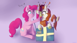 Size: 2560x1440 | Tagged: safe, artist:fuzzypones, autumn blaze, pinkie pie, earth pony, kirin, pony, sounds of silence, :t, :|, boop, box, christmas, confused, cute, female, gift box, gradient background, holiday, mare, pink background, ponk, pony in a box, present, question mark, red nose, rudolph nose, simple background, smiling, wide eyes
