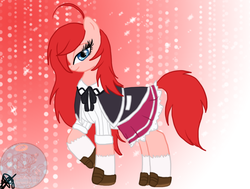 Size: 814x617 | Tagged: safe, artist:xxalymetalgirlxx, pony, ahoge, bedroom eyes, blue eyes, bow, clothes, high school dxd, japanese school uniform, lace, pleated skirt, ponified, raised hoof, red hair, red mane, red tail, redhead, rias gremory, ribbon, school uniform, schoolgirl, shoes, skirt, solo, sparkle eyes, sparkling eyes, stockings, thigh highs, watermark
