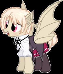 Size: 1612x1884 | Tagged: safe, artist:easterdara, oc, bat pony, pegasus, pony, bat ears, bat wings, blushing, bow, clothes, cream hair, crossdressing, cute, fangs, femboy, gasper vladi, high school dxd, japanese school uniform, male, moe, ocbetes, pleated skirt, ponified, ribbon, school uniform, schoolgirl, short hair, short mane, short tail, simple background, skirt, socks, solo, stockings, thigh highs, transparent background, trap, wings