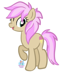 Size: 861x1038 | Tagged: safe, artist:rainbow eevee, strawberry scoop, earth pony, pony, background pony, female, friendship student, looking at you, mare, raised hoof, simple background, smiling, solo, transparent background