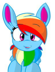 Size: 895x1163 | Tagged: alternate design, artist:rainbow eevee, bust, ear fluff, eevee, female, looking at you, mare, oc, oc:rainbow eevee, pegasus, pokefied, pokémon, pony, rainbow dash, safe, simple background, solo, species swap, style emulation, transparent background