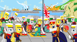Size: 8069x4423 | Tagged: absurd res, arisaka, army, artillery, artist:trungtranhaitrung, battleship, bayonet, burning, cannon, china, chinese, flag, fortress, general, gun, history, imperial japan, imperial japanese army, japanese, katana, ponified, pony, prisoner, prisoner of war, qing dynasty, rifle, safe, sinking, soldier, surrender, sword, weapon