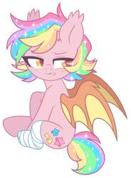 Size: 1343x1822 | Tagged: safe, artist:hawthornss, oc, oc only, oc:paper stars, bat pony, pony, amputee, bandage, bat pony oc, blushing, cute, cute little fangs, disgusted, ear fluff, fangs, female, frown, missing limb, ocbetes, simple background, sitting, transparent background, watermark