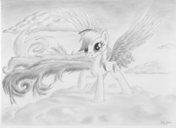 Size: 3510x2550 | Tagged: artist:ratchethun, cloud, female, mare, monochrome, pony, rainbow dash, raised hoof, safe, sketch, smiling, solo, spread wings, traditional art, wings