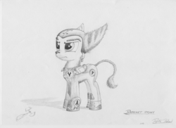 Size: 3510x2550 | Tagged: armor, artist:ratchethun, clothes, male, monochrome, ponified, pony, ratchet, ratchet and clank, safe, simple background, sketch, solo, stallion, traditional art