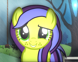 Size: 1078x858 | Tagged: artist:mrslimonka, female, grin, looking at you, mare, oc, oc:mrslimonka, oc only, pegasus, pony, safe, shy, shy smile, smiling, solo, tree, wings