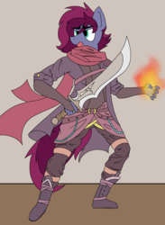 Size: 1524x2077 | Tagged: angry, artist:sythenmcswig, boots, clothes, coat, female, fire, gambeson, gloves, long gloves, oc, oc:blazing heart, oc only, pony, safe, scarf, shoes, short mane, solo, standing, sword, weapon