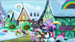 Size: 1440x812 | Tagged: safe, screencap, burning passion, cloud kicker, flam, flim, holly the hearths warmer doll, mercury, minty bubblegum, star hunter, starry eyes (character), earth pony, pegasus, pony, unicorn, best gift ever, angry, angry mob, background pony, chase, christmas, christmas lights, clothes, crate, discovery family logo, earmuffs, female, flag, flim flam brothers, flying, hearth's warming lights, holiday, house, houses, magic, magic aura, male, mare, mob, rainbow, rainbow falls (location), running, scarf, snow, stallion, telekinesis, winter