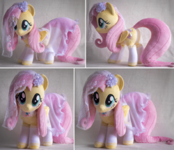 Size: 2613x2253   Tagged: safe, artist:buttercupbabyppg, fluttershy, pegasus, pony, clothes, cute, dress, female, folded wings, head tilt, irl, lacy underwear, looking at you, mare, panties, photo, plushie, shyabetes, smiling, solo, standing, underwear, wedding dress, wedding veil, white underwear, wings