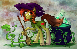 Size: 1386x888 | Tagged: artist:hellishnya, broom, cauldron, female, halloween, hat, holiday, mare, oc, oc only, oc:punnet, plant, pony, safe, solo, witch hat, ych result