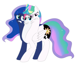 Size: 2342x2000 | Tagged: alicorn, artist:mlpconjoinment, bad touch, body horror, conjoined, conjoined by horn, looking at each other, magic, molestation, multiple heads, oc, oc:vocal love, personal space invasion, princess celestia, princess luna, safe, this will end in jail time, three heads, what has magic done, what has science done, xk-class end-of-the-world scenario