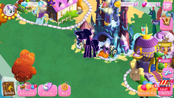 Size: 1920x1080 | Tagged: balloon, bits, building, canterlot, claude, coco pommel, compass, compass star, four step, game, gameloft, game screencap, gem, mochaccino, my little pony game, pharynx, rare find, safe, screenshots, shining armor, tantabus, tree, twilight velvet