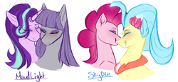 Size: 2300x1057 | Tagged: safe, artist:purplegrim40, maud pie, pinkie pie, princess skystar, starlight glimmer, my little pony: the movie, female, lesbian, shipping, skypie, starmaud