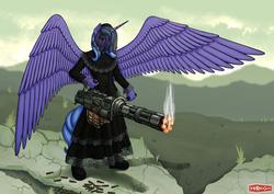 Size: 1280x905 | Tagged: safe, artist:wwredgrave, oc, oc only, oc:lacunae, alicorn, anthro, fallout equestria, fallout equestria: project horizons, 2016, alicorn oc, anthro oc, artificial alicorn, clothes, dress, fallout, fanfic, fanfic art, female, gun, horn, minigun, purple alicorn (fo:e), solo, spread wings, weapon, wings