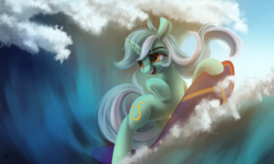 Size: 2500x1500 | Tagged: artist:fluttersheeeee, female, lyra heartstrings, mare, pony, safe, solo, surfboard, surfing, unicorn, wave