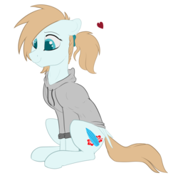 Size: 2500x2500 | Tagged: safe, artist:cold blight, oc, oc only, oc:cold blight, pegasus, pony, clothes, cutie mark, female, hair tie, heart, ponytail, smiling, solo, sweater