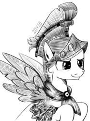 Size: 1280x1719 | Tagged: safe, artist:dsana, flash magnus, pegasus, pony, armor, helmet, ink drawing, inktober, male, monochrome, raised hoof, simple background, sketch, smiling, solo, spread wings, stallion, traditional art, white background, wings