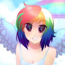 Size: 900x900 | Tagged: safe, artist:oceanchan, rainbow dash, human, anime, anime style, breasts, cleavage, clothes, day, female, grin, humanized, looking at you, rainbow, sky, smiling, solo, starry eyes, sunlight, tanktop, wingding eyes, winged humanization, wings