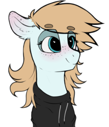 Size: 2436x2852 | Tagged: artist:cold blight, beanbrows, blushing, clothes, eyebrows, female, freckles, hoodie, mare, oc, oc:cold blight, oc only, pegasus, pony, safe, simple background, smiling, solo, transparent background