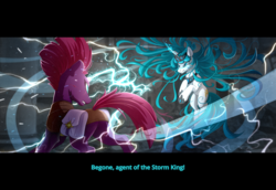 Size: 3504x2412 | Tagged: safe, artist:batonya12561, tempest shadow, oc, oc:angel song, pony, armor, broken horn, dialogue, electricity, fight, horn, saddle bag, subtitles, widescreen