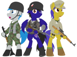 Size: 3500x2585 | Tagged: artist:xphil1998, bayonet, belt, boots, camouflage, clothes, fg42, floppy ears, german, germany, gewehr 43, gun, jacket, military, military pony, military uniform, mp-18, oc, oc:gravity check, oc:paladin colt, oc:trigger hooves, open mouth, paratrooper, pony, safe, shoes, simple background, stahlhelm, submachinegun, transparent background, weapon, world war ii