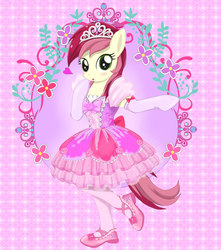 Size: 2300x2600   Tagged: safe, artist:avchonline, roseluck, earth pony, anthro, plantigrade anthro, arm hooves, ballerina, ballet, blushing, canterlot royal ballet academy, clothes, dress, female, gloves, jewelry, long gloves, mare, pantyhose, pretty, rosabetes, shoes, skirt, solo, tiara, tights, tutu, tutu cute