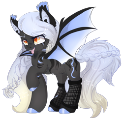Size: 1280x1230 | Tagged: safe, artist:malicious-demi, oc, oc only, bat pony, pony, bat pony oc, bat wings, braid, braided tail, cute, cute little fangs, ear tufts, fangs, female, fishnets, hoof polish, looking at you, mare, one hoof raised, orange eyes, raised eyebrow, silver hair, simple background, solo, spread wings, standing, stripes, tongue out, transparent background, wings