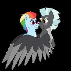 Size: 1280x1280 | Tagged: safe, artist:itstechtock, rainbow dash, thunderlane, pony, alternate hairstyle, blushing, female, hug, male, shipping, simple background, straight, thunderdash, transparent background, winghug