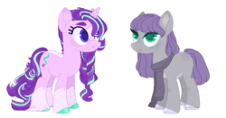 Size: 744x389 | Tagged: safe, artist:m-00nlight, maud pie, starlight glimmer, earth pony, pony, unicorn, alternate hairstyle, braid, clothes, cloven hooves, colored hooves, female, lesbian, mare, older, scarf, shipping, simple background, starmaud, transparent background