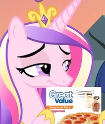 Size: 508x600 | Tagged: safe, edit, edited screencap, screencap, princess cadance, pony, three's a crowd, budget cuts, cadance's pizza delivery, cheap, cropped, disgusting, evil, female, food, great value, holding, meat, meme, pathetic, peetzer, pepperoni, pepperoni pizza, pizza, ponies eating meat, pure unfiltered evil, smiling, smirk, smug, solo, that pony sure does love pizza, this will end in sickness, unpleasant implications