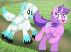 Size: 2348x1738 | Tagged: alicorn, alicorn oc, amethyst star, artist:pearlyiridescence, colored wings, female, field, flower field, gradient hooves, gradient mane, gradient wings, looking back, male, mare, oc, oc:skyler, open mouth, outdoors, pony, running, safe, smiling, sparkler, stallion, unicorn, unshorn fetlocks