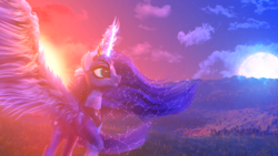 Size: 1920x1080 | Tagged: safe, artist:etherium-apex, princess luna, alicorn, pony, 3d, female, glowing horn, magic, moon work, solo