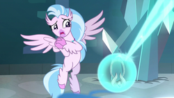 Size: 1280x720 | Tagged: amulet, amulet of aurora, azurantium, classical hippogriff, female, hippogriff, jewelry, safe, school raze, screencap, silverstream, solo, spread wings, wings, worried