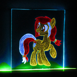 Size: 829x829 | Tagged: acrylic glass, acrylic plastic, acrylight, artist:malte279, craft, earth pony, engraving, led, mascot, oc, oc:colonia, pony, safe