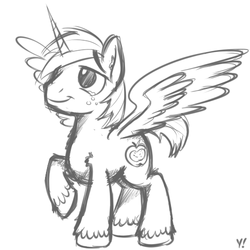 Size: 500x500 | Tagged: alicorn, alicornified, artist:yakoshi, big macintosh, freckles, male, monochrome, pony, princess big mac, race swap, raised hoof, safe, simple background, sketch, smiling, solo, spread wings, stallion, unshorn fetlocks, white background, wings