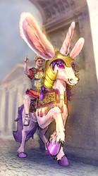 Size: 1392x2506   Tagged: safe, artist:xbi, oc, oc only, oc:lapush buns, human, pony, unicorn, tabun art-battle, ancient romans, ancient rome, bunny ears, bunnycorn, hand, hoers, male, octavian augustus, riding, rome, stallion, tabun art-battle cover