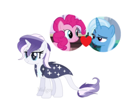 Size: 740x600 | Tagged: artist:vixenfin, female, lesbian, magical lesbian spawn, oc, offspring, parent:pinkie pie, parents:trixiepie, parent:trixie, pinkie pie, pony, safe, shipping, simple background, transparent background, trixie, trixiepie, unicorn