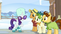 Size: 1920x1080 | Tagged: safe, screencap, butternut, oak nut, pistachio, rarity, earth pony, pony, unicorn, best gift ever, acorn family, animation error, clothes, female, floating head, hat, male, mare, snow, stallion, teenager
